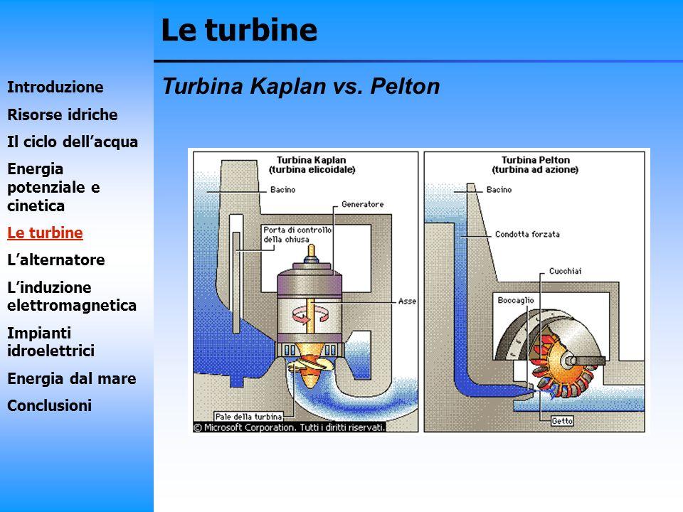 Le turbine Turbina Kaplan vs. Pelton Introduzione Risorse idriche Il ciclo dellacqua Energia potenziale e cinetica Le turbine Lalternatore Linduzione
