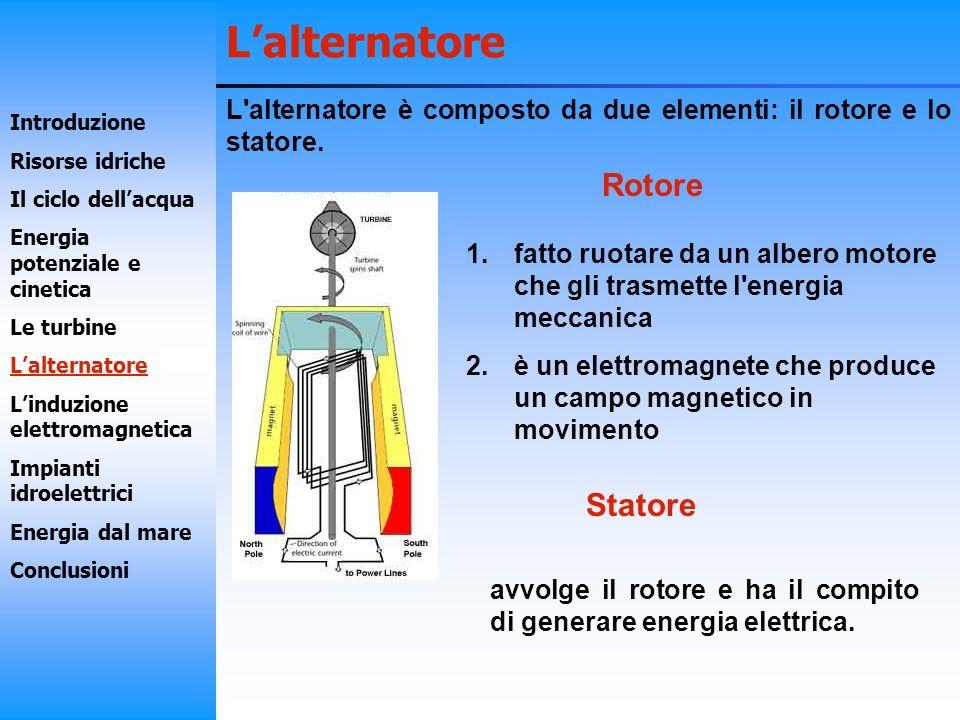 Lalternatore Rotore Statore 1.fatto ruotare da un albero motore che gli trasmette l'energia meccanica 2.è un elettromagnete che produce un campo magne