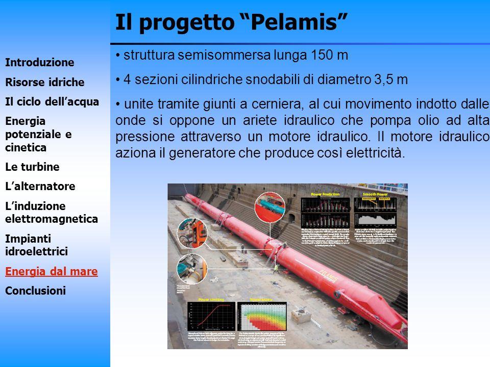 Il progetto Pelamis struttura semisommersa lunga 150 m 4 sezioni cilindriche snodabili di diametro 3,5 m unite tramite giunti a cerniera, al cui movim