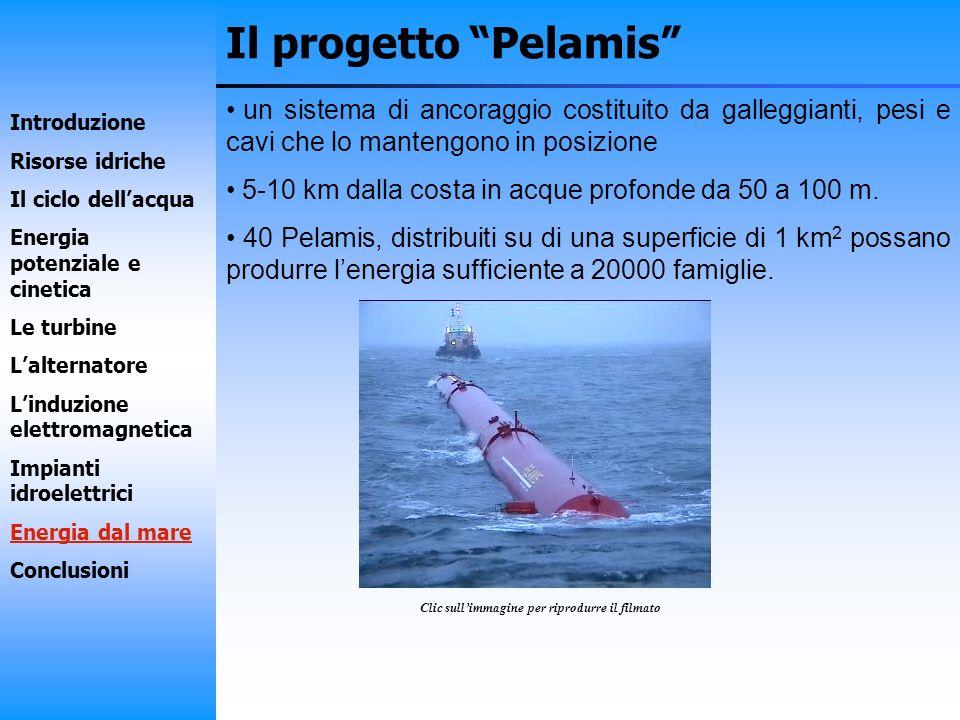 Il progetto Pelamis un sistema di ancoraggio costituito da galleggianti, pesi e cavi che lo mantengono in posizione 5-10 km dalla costa in acque profo