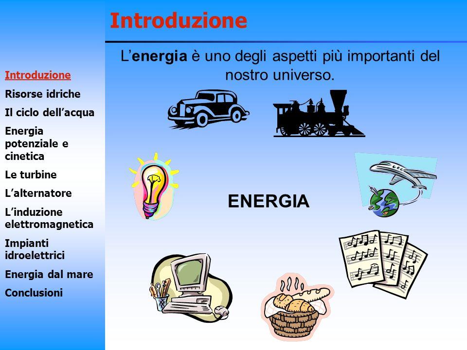 Introduzione Lenergia è uno degli aspetti più importanti del nostro universo. ENERGIA Introduzione Risorse idriche Il ciclo dellacqua Energia potenzia