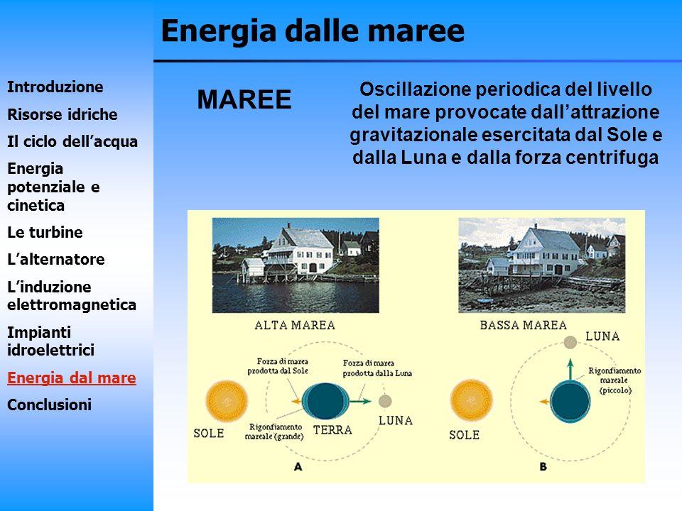 Energia dalle maree MAREE Oscillazione periodica del livello del mare provocate dallattrazione gravitazionale esercitata dal Sole e dalla Luna e dalla