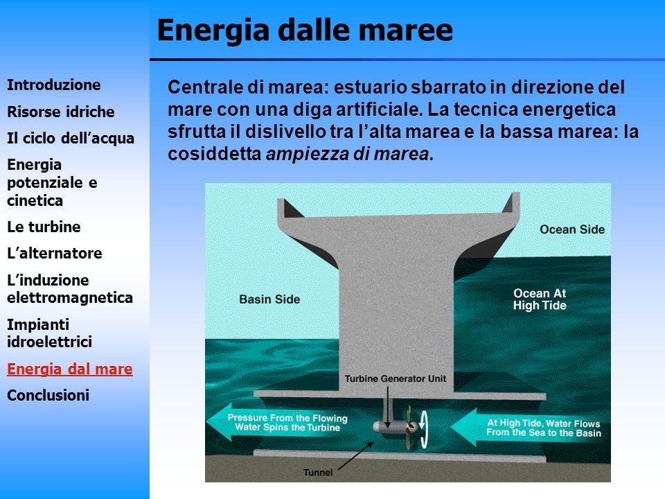 Energia dalle maree Centrale di marea: estuario sbarrato in direzione del mare con una diga artificiale. La tecnica energetica sfrutta il dislivello t