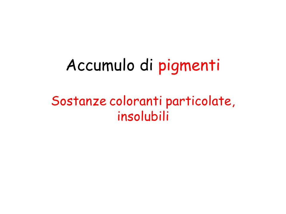 Accumulo di pigmenti Sostanze coloranti particolate, insolubili