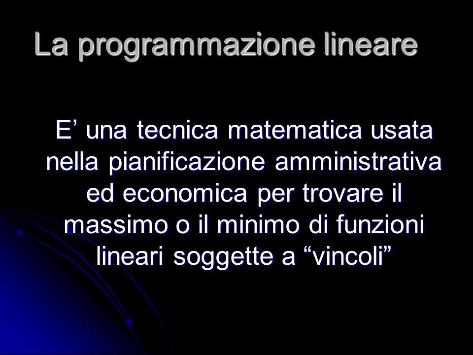 La programmazione lineare E una tecnica matematica usata nella pianificazione amministrativa ed economica per trovare il massimo o il minimo di funzio
