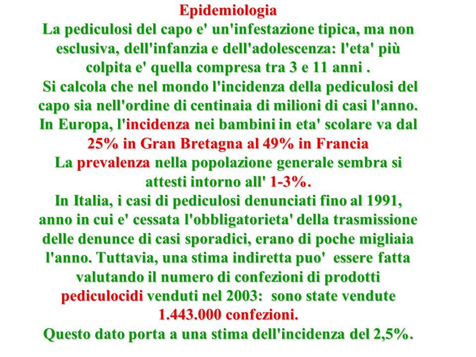 Epidemiologia La pediculosi del capo e' un'infestazione tipica, ma non esclusiva, dell'infanzia e dell'adolescenza: l'eta' più colpita e' quella compr