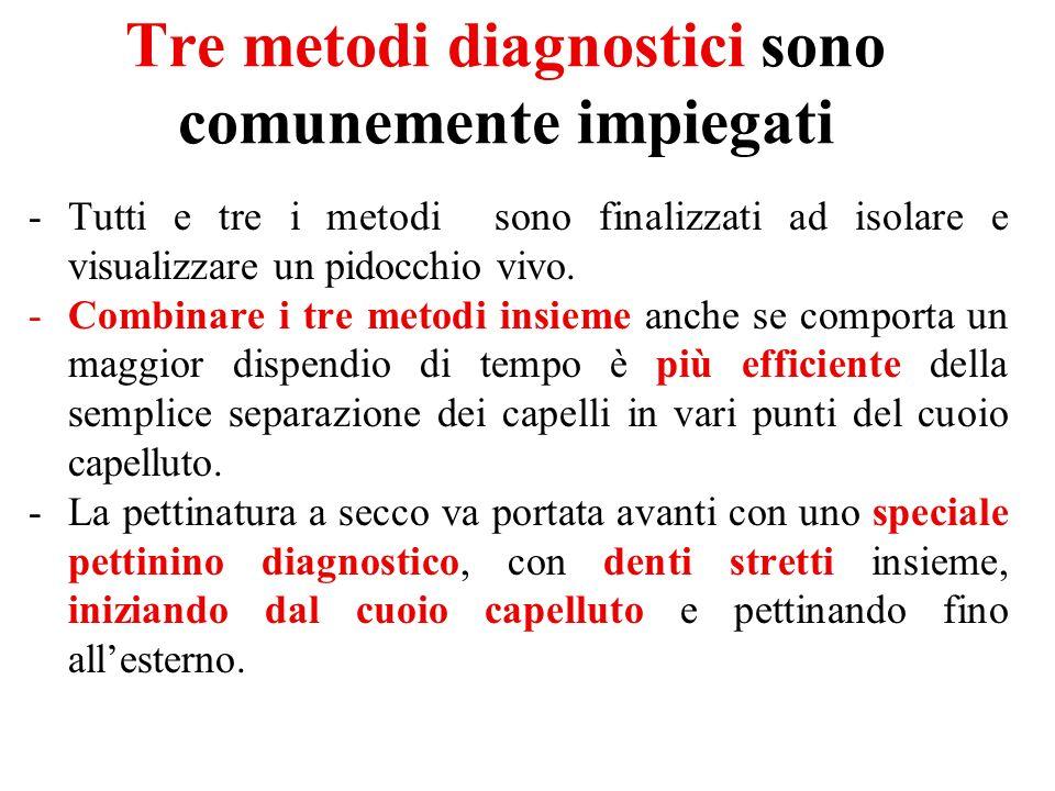 Tre metodi diagnostici sono comunemente impiegati -Tutti e tre i metodi sono finalizzati ad isolare e visualizzare un pidocchio vivo. -Combinare i tre