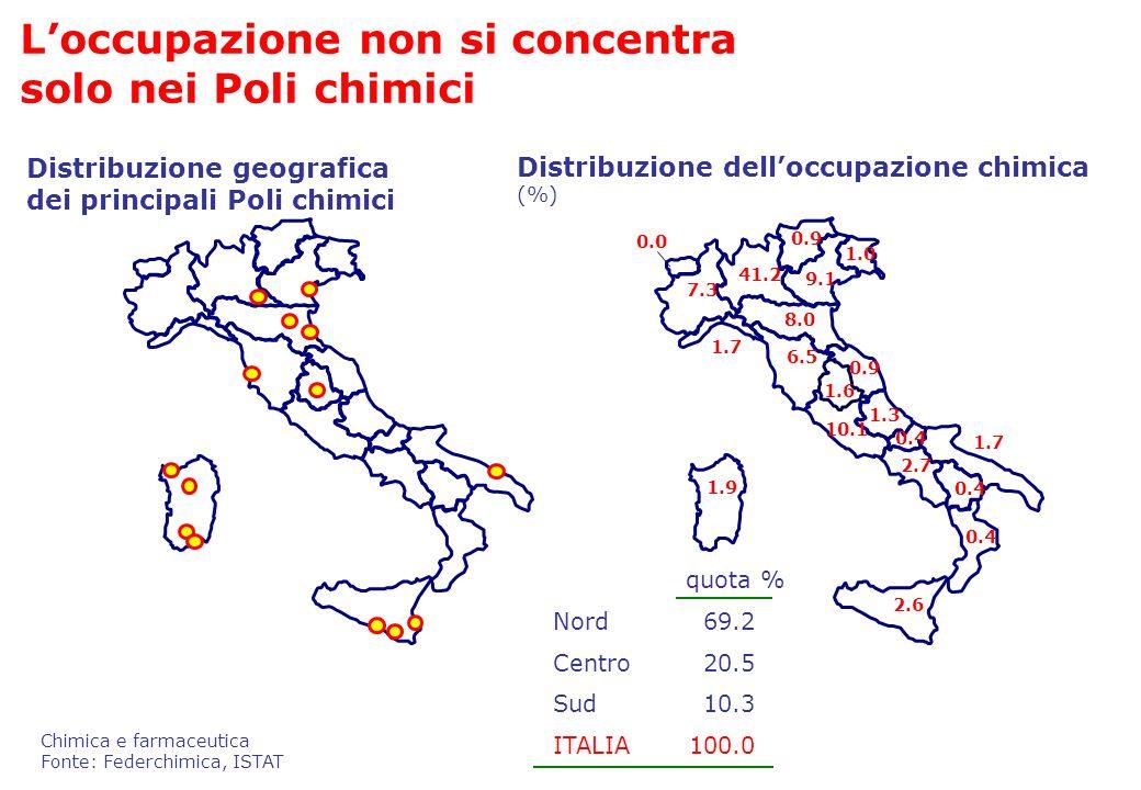 Loccupazione non si concentra solo nei Poli chimici Distribuzione geografica dei principali Poli chimici Distribuzione delloccupazione chimica (%) 1.3