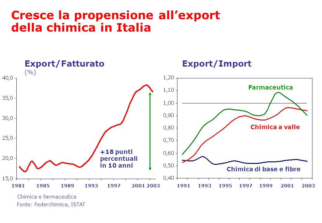 Cresce la propensione allexport della chimica in Italia 19811985199720012003 +18 punti percentuali in 10 anni Export/Fatturato (%) Fonte: Federchimica