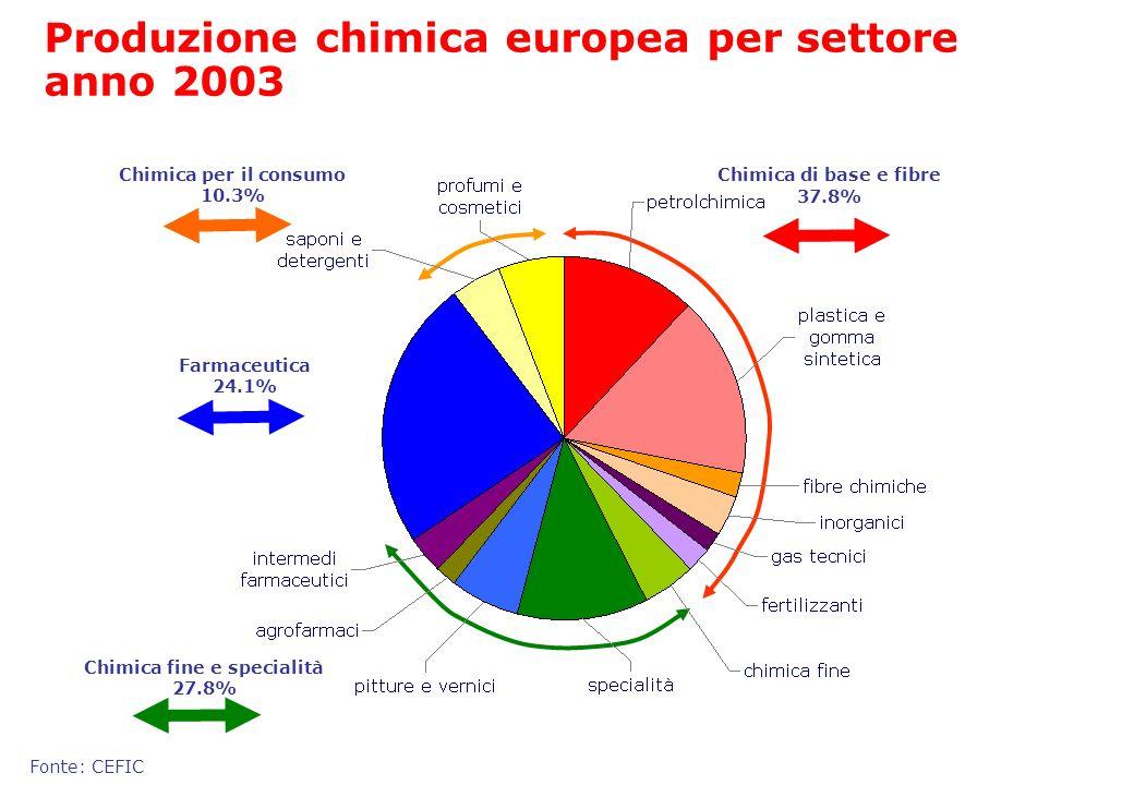 Fonte: CEFIC Produzione chimica europea per settore anno 2003 Chimica di base e fibre 37.8% Chimica fine e specialità 27.8% Chimica per il consumo 10.