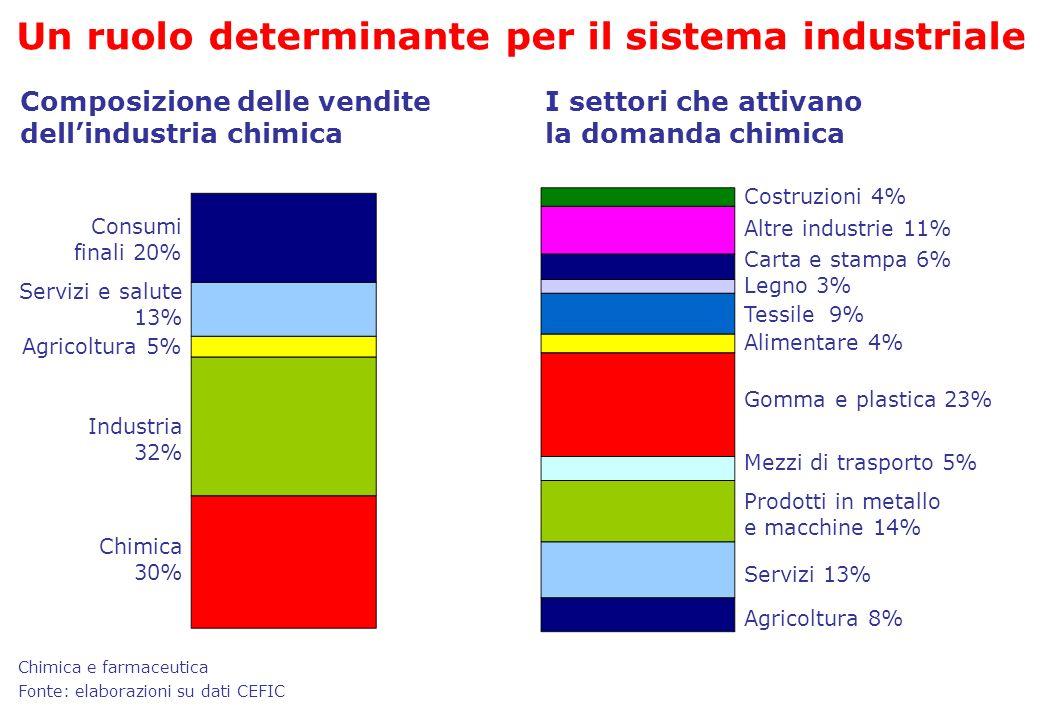 Fonte: elaborazioni su dati CEFIC Composizione delle vendite dellindustria chimica Consumi finali 20% Servizi e salute 13% Chimica 30% Agricoltura 5%