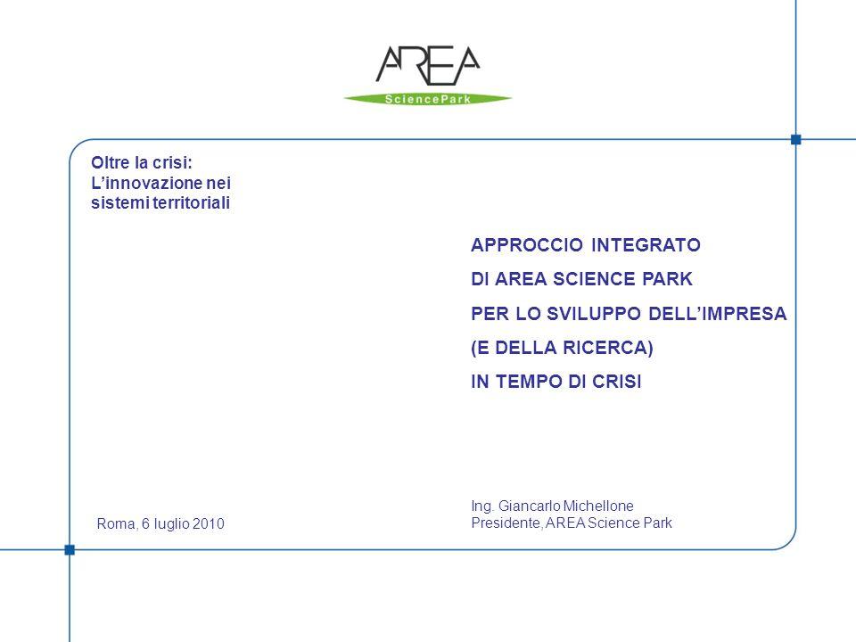 1 APPROCCIO INTEGRATO DI AREA SCIENCE PARK PER LO SVILUPPO DELLIMPRESA (E DELLA RICERCA) IN TEMPO DI CRISI Roma, 6 luglio 2010 Ing.