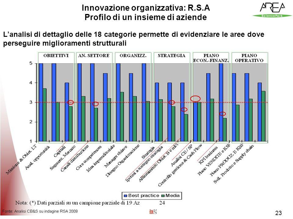 23 Innovazione organizzativa: R.S.A Profilo di un insieme di aziende Lanalisi di dettaglio delle 18 categorie permette di evidenziare le aree dove perseguire miglioramenti strutturali 23