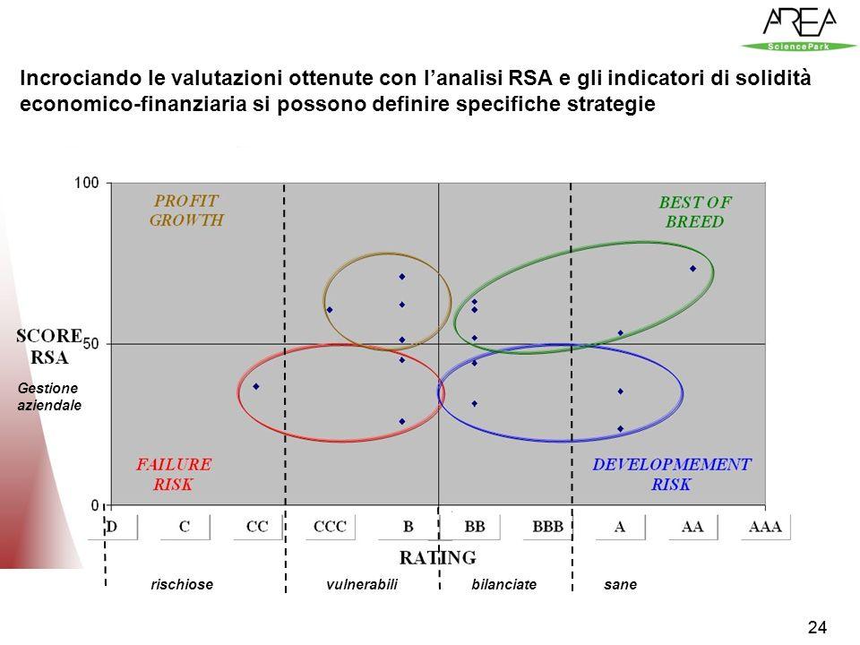 24 Innovazione organizzativa: R.S.A solidità Incrociando le valutazioni ottenute con lanalisi RSA e gli indicatori di solidità economico-finanziaria si possono definire specifiche strategie Gestione aziendale rischiosevulnerabilibilanciatesane