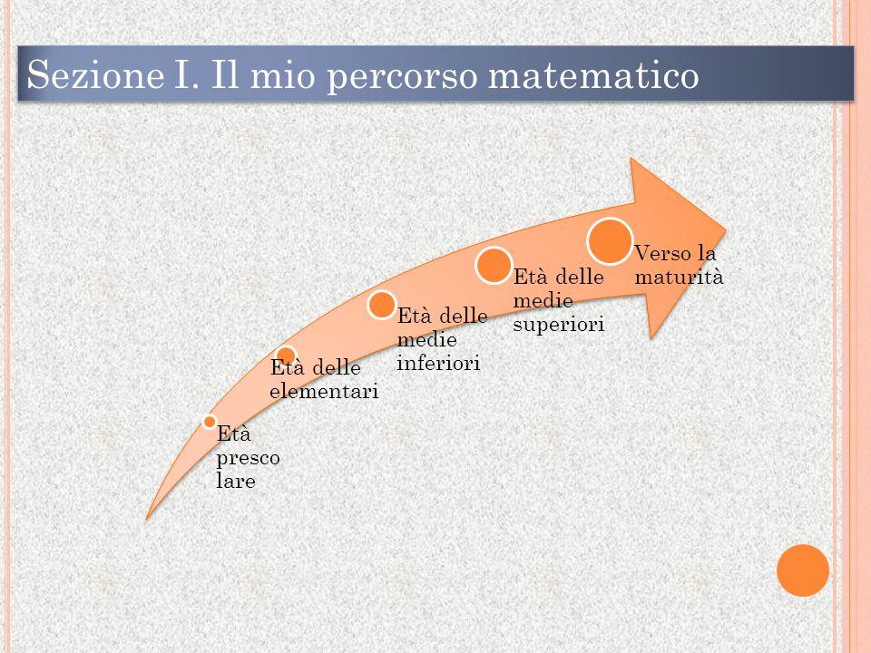 Età presco lare Età delle elementari Età delle medie inferiori Età delle medie superiori Verso la maturità Sezione I.