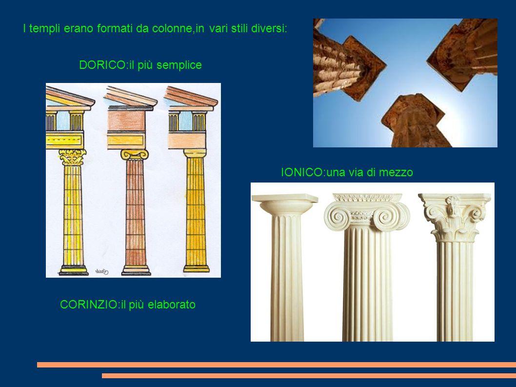 I templi erano formati da colonne,in vari stili diversi: DORICO:il più semplice IONICO:una via di mezzo CORINZIO:il più elaborato