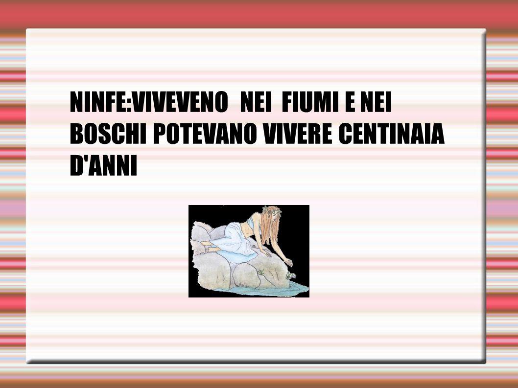 NINFE:VIVEVENO NEI FIUMI E NEI BOSCHI POTEVANO VIVERE CENTINAIA D'ANNI