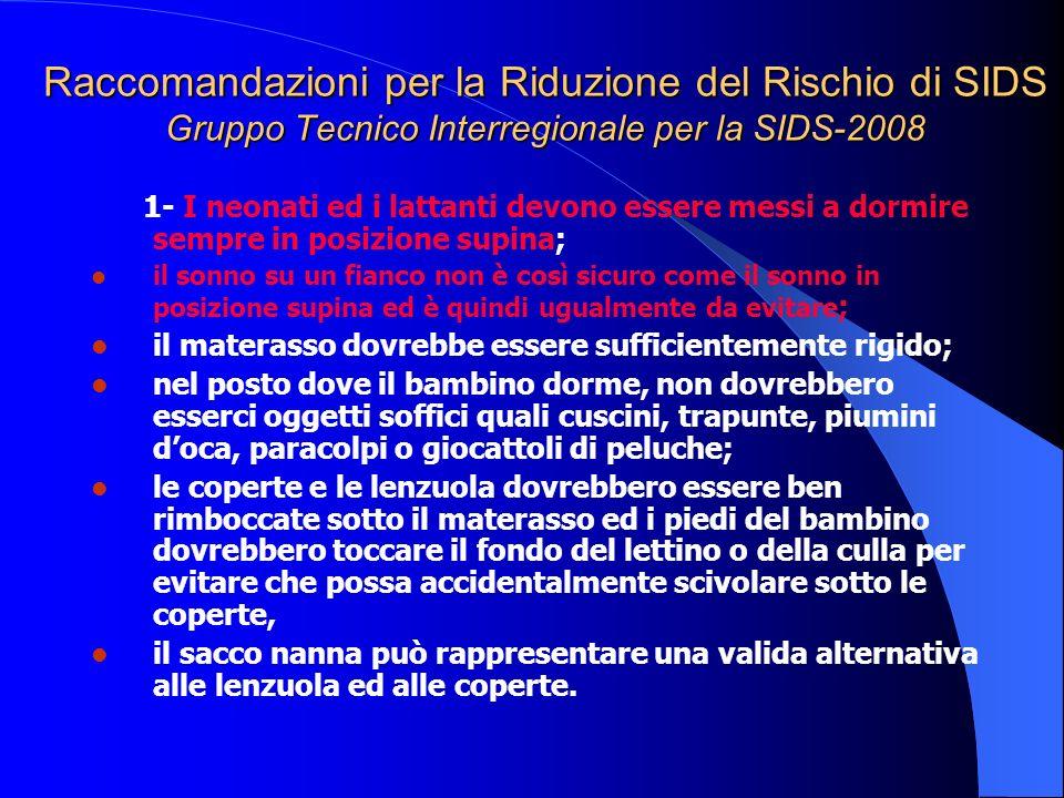 Raccomandazioni per la Riduzione del Rischio di SIDS Gruppo Tecnico Interregionale per la SIDS-2008 1- I neonati ed i lattanti devono essere messi a d