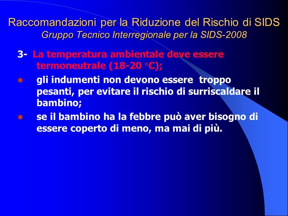 Raccomandazioni per la Riduzione del Rischio di SIDS Gruppo Tecnico Interregionale per la SIDS-2008 3- La temperatura ambientale deve essere termoneut