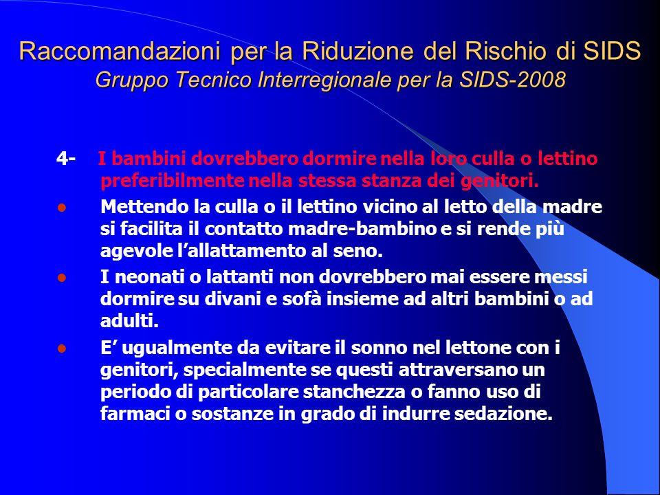 Raccomandazioni per la Riduzione del Rischio di SIDS Gruppo Tecnico Interregionale per la SIDS-2008 4- I bambini dovrebbero dormire nella loro culla o