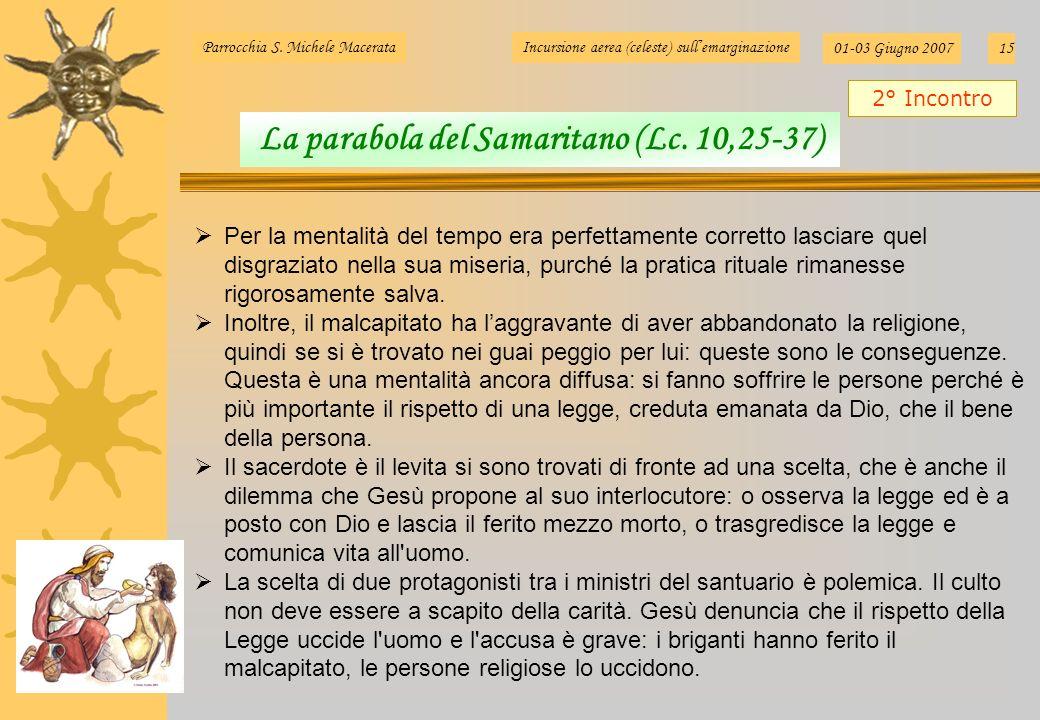 Parrocchia S. Michele MacerataIncursione aerea (celeste) sullemarginazione 01-03 Giugno 200715 Per la mentalità del tempo era perfettamente corretto l