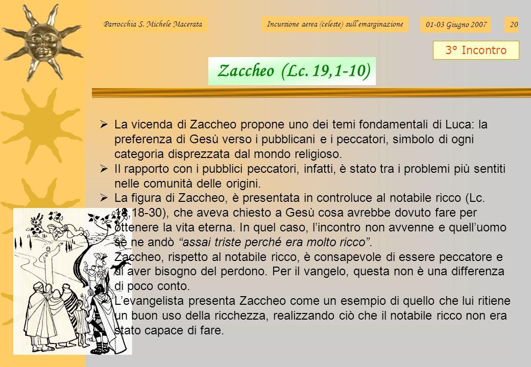 Parrocchia S. Michele MacerataIncursione aerea (celeste) sullemarginazione 01-03 Giugno 200720 La vicenda di Zaccheo propone uno dei temi fondamentali