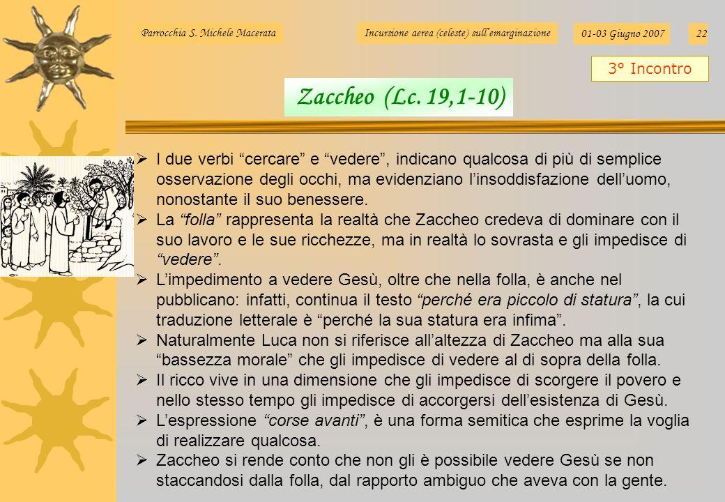 Parrocchia S. Michele MacerataIncursione aerea (celeste) sullemarginazione 01-03 Giugno 200722 I due verbi cercare e vedere, indicano qualcosa di più
