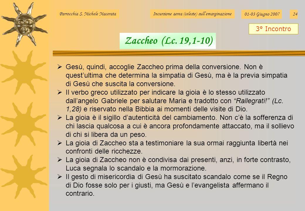 Parrocchia S. Michele MacerataIncursione aerea (celeste) sullemarginazione 01-03 Giugno 200724 Gesù, quindi, accoglie Zaccheo prima della conversione.
