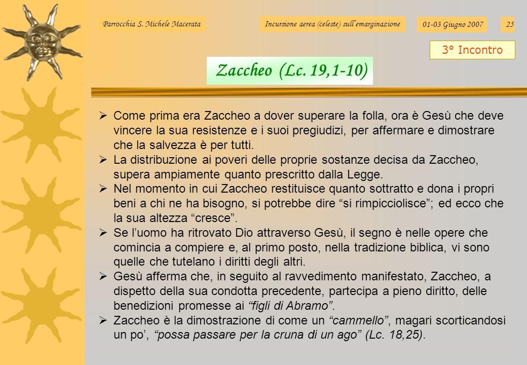 Parrocchia S. Michele MacerataIncursione aerea (celeste) sullemarginazione 01-03 Giugno 200725 Come prima era Zaccheo a dover superare la folla, ora è
