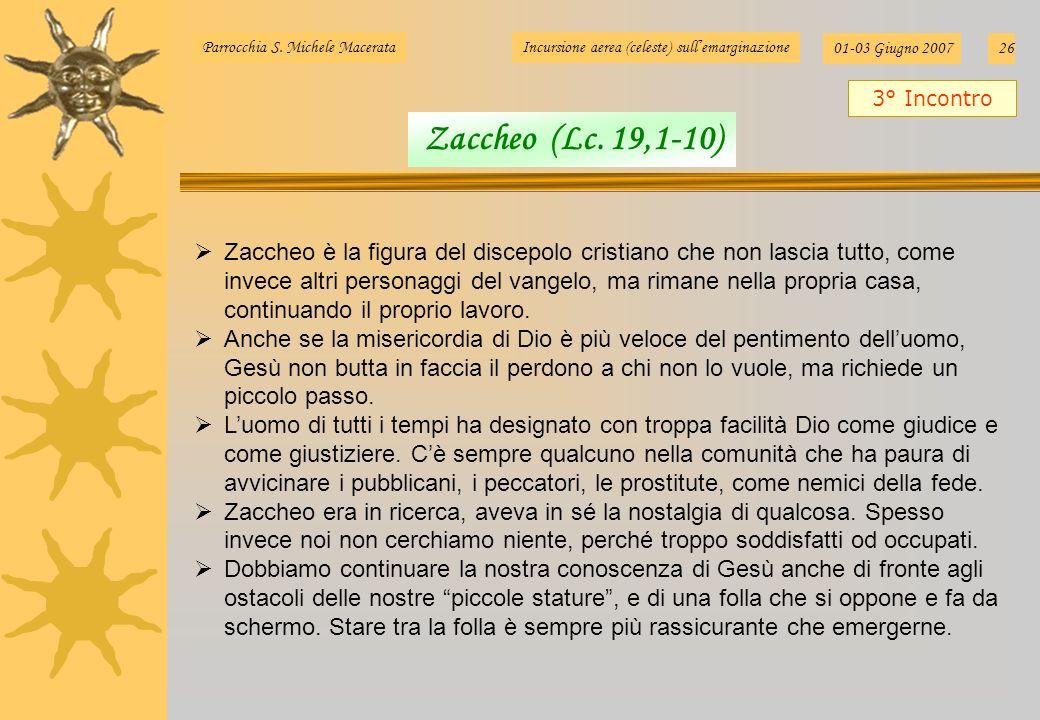 Parrocchia S. Michele MacerataIncursione aerea (celeste) sullemarginazione 01-03 Giugno 200726 Zaccheo è la figura del discepolo cristiano che non las