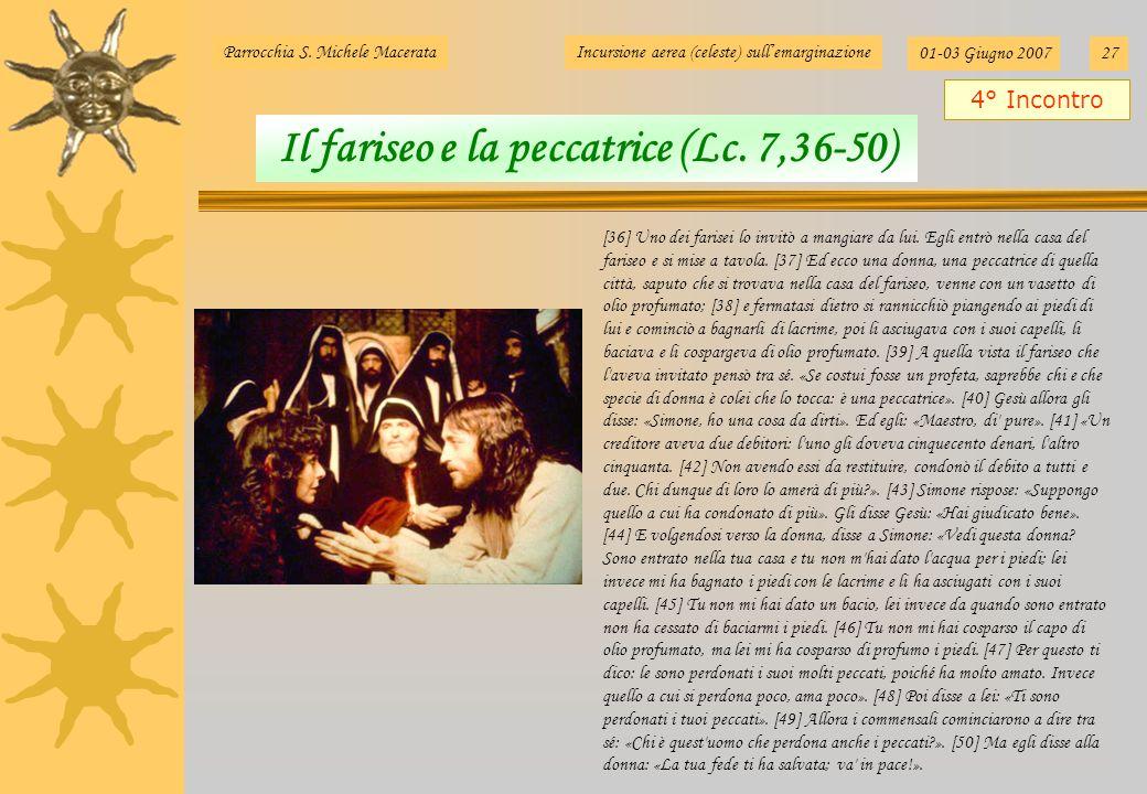 Parrocchia S. Michele MacerataIncursione aerea (celeste) sullemarginazione 01-03 Giugno 200727 [36] Uno dei farisei lo invitò a mangiare da lui. Egli