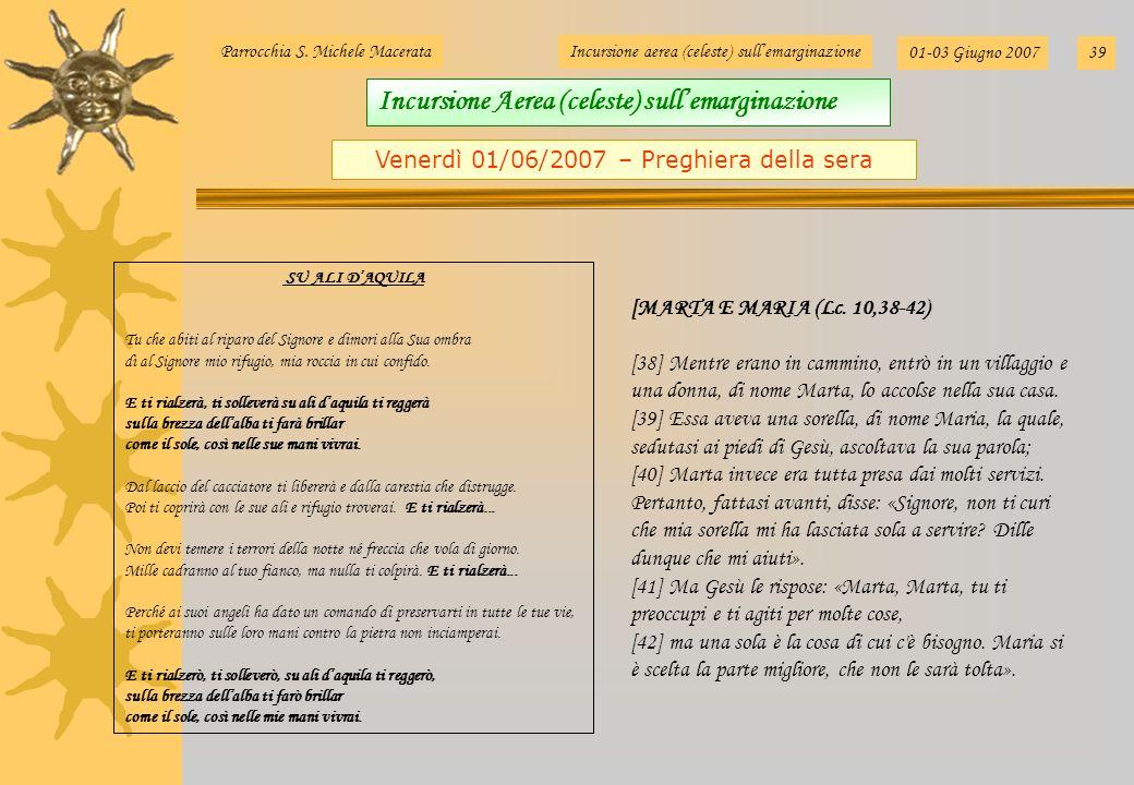 Venerdì 01/06/2007 – Preghiera della sera Parrocchia S. Michele MacerataIncursione aerea (celeste) sullemarginazione 01-03 Giugno 200739 [MARTA E MARI
