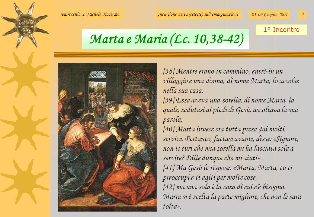Marta e Maria (Lc. 10,38-42) 1° Incontro Parrocchia S. Michele MacerataIncursione aerea (celeste) sullemarginazione 01-03 Giugno 20074 [38] Mentre era