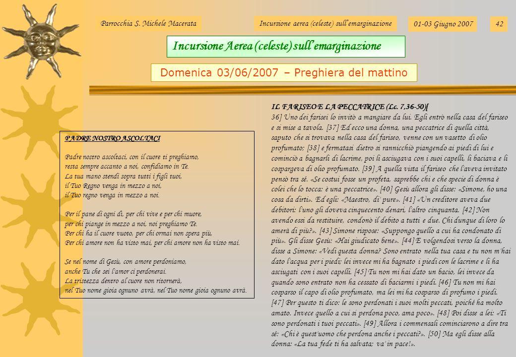 Parrocchia S. Michele MacerataIncursione aerea (celeste) sullemarginazione 01-03 Giugno 200742 Domenica 03/06/2007 – Preghiera del mattino PADRE NOSTR