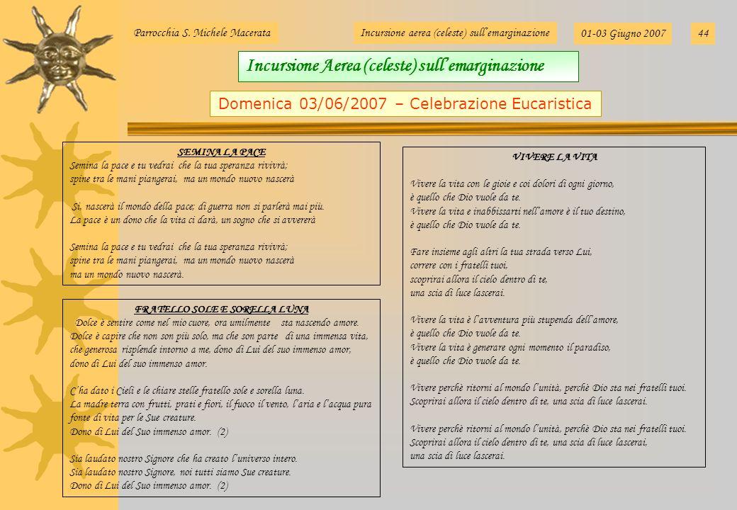 Parrocchia S. Michele MacerataIncursione aerea (celeste) sullemarginazione 01-03 Giugno 200744 VIVERE LA VITA Vivere la vita con le gioie e coi dolori