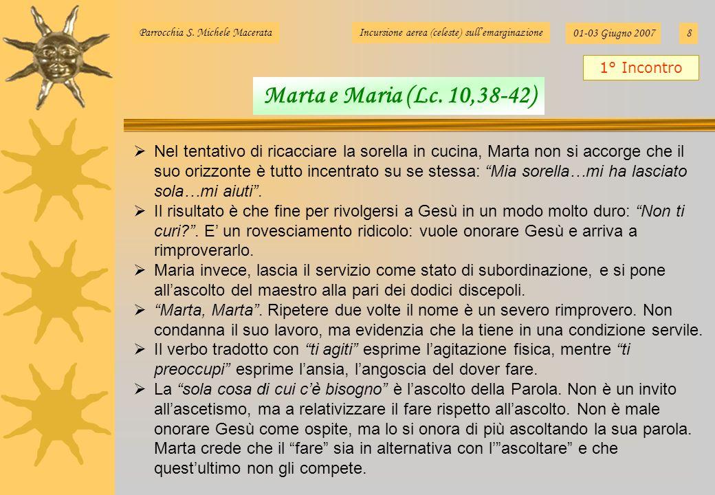 Parrocchia S. Michele MacerataIncursione aerea (celeste) sullemarginazione 01-03 Giugno 20078 Nel tentativo di ricacciare la sorella in cucina, Marta