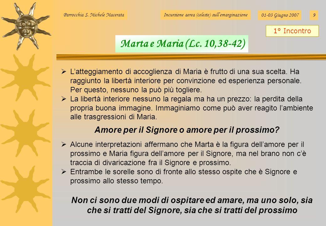 Parrocchia S. Michele MacerataIncursione aerea (celeste) sullemarginazione 01-03 Giugno 20079 Latteggiamento di accoglienza di Maria è frutto di una s