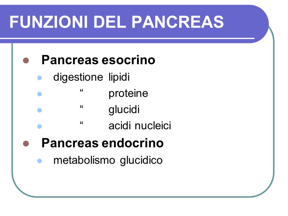 FUNZIONI DEL PANCREAS Pancreas esocrino digestione lipidi proteine glucidi acidi nucleici Pancreas endocrino metabolismo glucidico