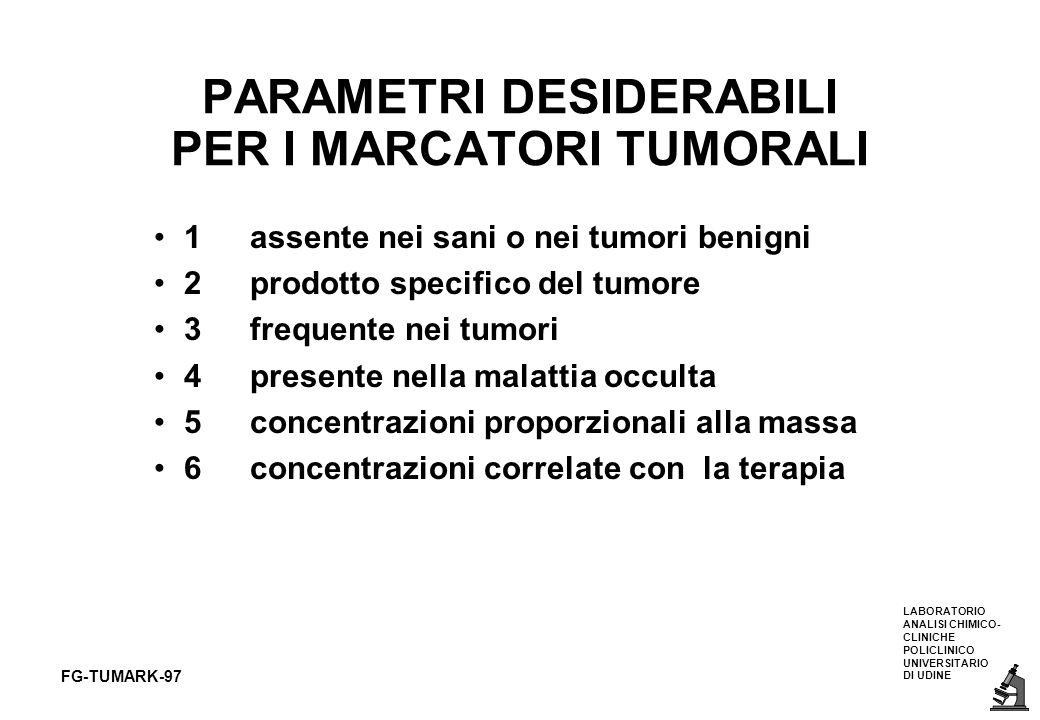 LABORATORIO ANALISI CHIMICO- CLINICHE POLICLINICO UNIVERSITARIO DI UDINE FG-TUMARK-97 1assente nei sani o nei tumori benigni 2prodotto specifico del t