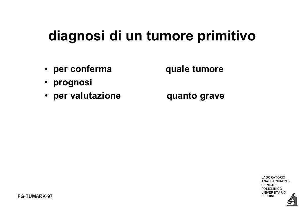 LABORATORIO ANALISI CHIMICO- CLINICHE POLICLINICO UNIVERSITARIO DI UDINE FG-TUMARK-97 diagnosi di un tumore primitivo per conferma quale tumore progno