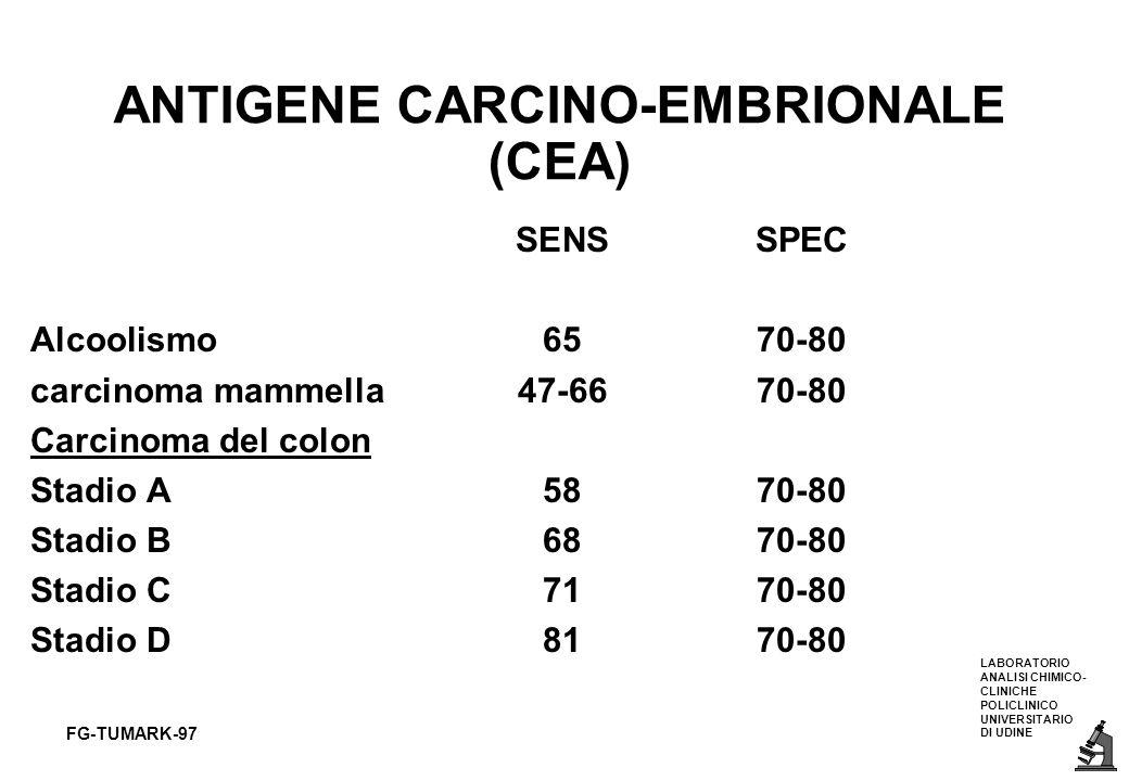 LABORATORIO ANALISI CHIMICO- CLINICHE POLICLINICO UNIVERSITARIO DI UDINE FG-TUMARK-97 ANTIGENE CARCINO-EMBRIONALE (CEA) SENSSPEC Alcoolismo6570-80 car