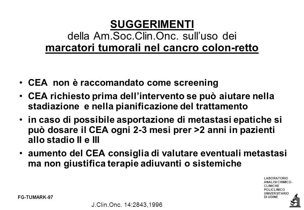 LABORATORIO ANALISI CHIMICO- CLINICHE POLICLINICO UNIVERSITARIO DI UDINE FG-TUMARK-97 SUGGERIMENTI della Am.Soc.Clin.Onc. sulluso dei marcatori tumora