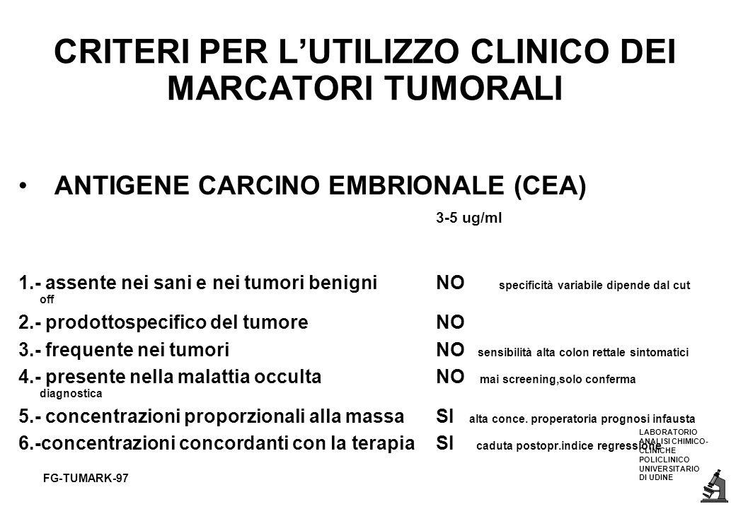 LABORATORIO ANALISI CHIMICO- CLINICHE POLICLINICO UNIVERSITARIO DI UDINE FG-TUMARK-97 CRITERI PER LUTILIZZO CLINICO DEI MARCATORI TUMORALI ANTIGENE CA