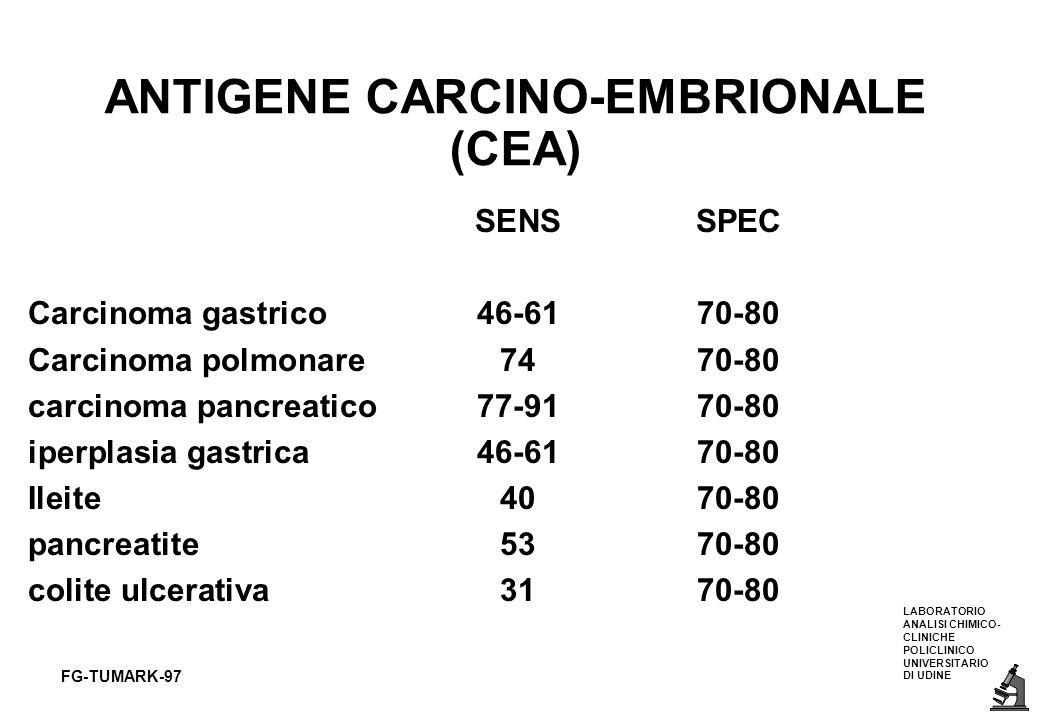 LABORATORIO ANALISI CHIMICO- CLINICHE POLICLINICO UNIVERSITARIO DI UDINE FG-TUMARK-97 ANTIGENE CARCINO-EMBRIONALE (CEA) SENSSPEC Carcinoma gastrico46-