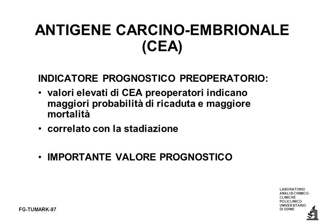 LABORATORIO ANALISI CHIMICO- CLINICHE POLICLINICO UNIVERSITARIO DI UDINE FG-TUMARK-97 ANTIGENE CARCINO-EMBRIONALE (CEA) INDICATORE PROGNOSTICO PREOPER