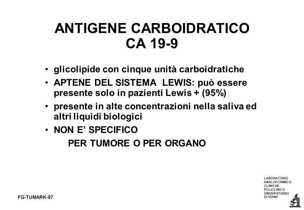 LABORATORIO ANALISI CHIMICO- CLINICHE POLICLINICO UNIVERSITARIO DI UDINE FG-TUMARK-97 ANTIGENE CARBOIDRATICO CA 19-9 glicolipide con cinque unità carb