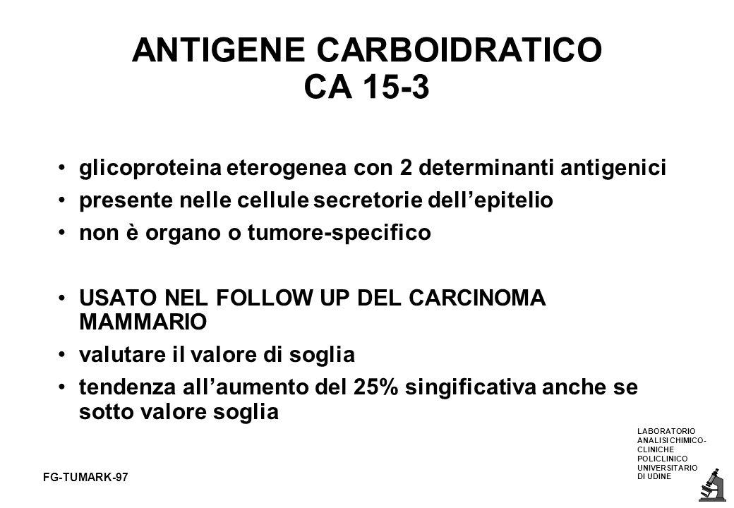 LABORATORIO ANALISI CHIMICO- CLINICHE POLICLINICO UNIVERSITARIO DI UDINE FG-TUMARK-97 ANTIGENE CARBOIDRATICO CA 15-3 glicoproteina eterogenea con 2 de
