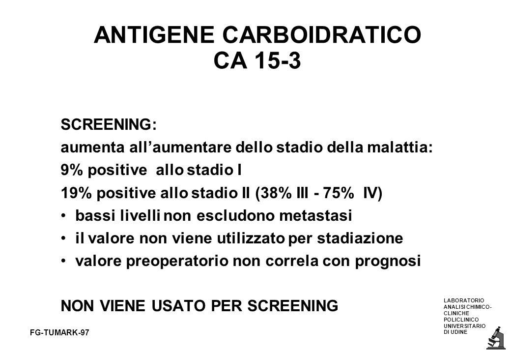 LABORATORIO ANALISI CHIMICO- CLINICHE POLICLINICO UNIVERSITARIO DI UDINE FG-TUMARK-97 ANTIGENE CARBOIDRATICO CA 15-3 SCREENING: aumenta allaumentare d