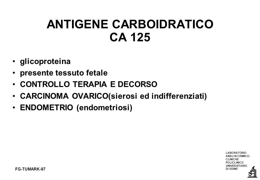 LABORATORIO ANALISI CHIMICO- CLINICHE POLICLINICO UNIVERSITARIO DI UDINE FG-TUMARK-97 ANTIGENE CARBOIDRATICO CA 125 glicoproteina presente tessuto fet