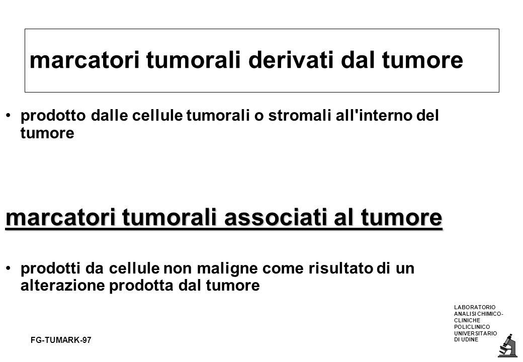 LABORATORIO ANALISI CHIMICO- CLINICHE POLICLINICO UNIVERSITARIO DI UDINE FG-TUMARK-97 CRITERI PER LUTILIZZO CLINICO DEI MARCATORI TUMORALI ANTIGENE CARCINO EMBRIONALE (CEA) 3-5 ug/ml 1.- assente nei sani e nei tumori benigniNO specificità variabile dipende dal cut off 2.- prodottospecifico del tumoreNO 3.- frequente nei tumoriNO sensibilità alta colon rettale sintomatici 4.- presente nella malattia occultaNO mai screening,solo conferma diagnostica 5.- concentrazioni proporzionali alla massaSI alta conce.